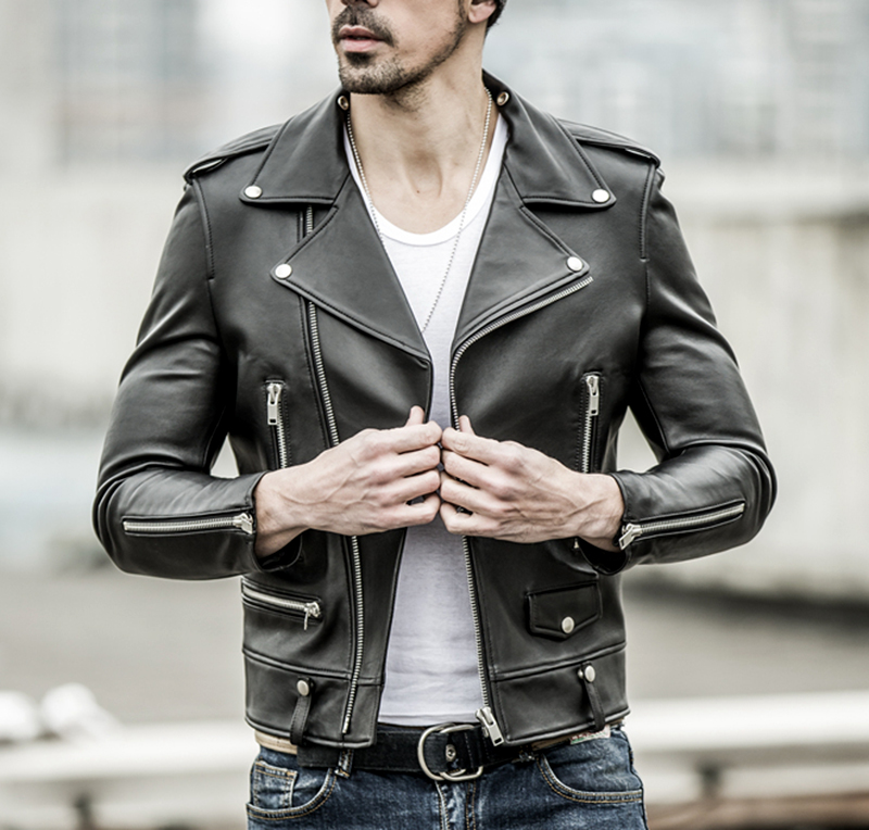 Free Shipping.brand New Black Mens Sheepskin Jacket.classic Biker Soft Genuine Leather Coat.fashion Plus Size Style Slim Jackets