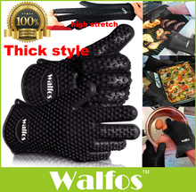 WALFOS 1 pc food grade Heat Resistant thick Silicone Kitchen barbecue oven glove Cooking BBQ Grill Glove Oven Mitt Baking glove