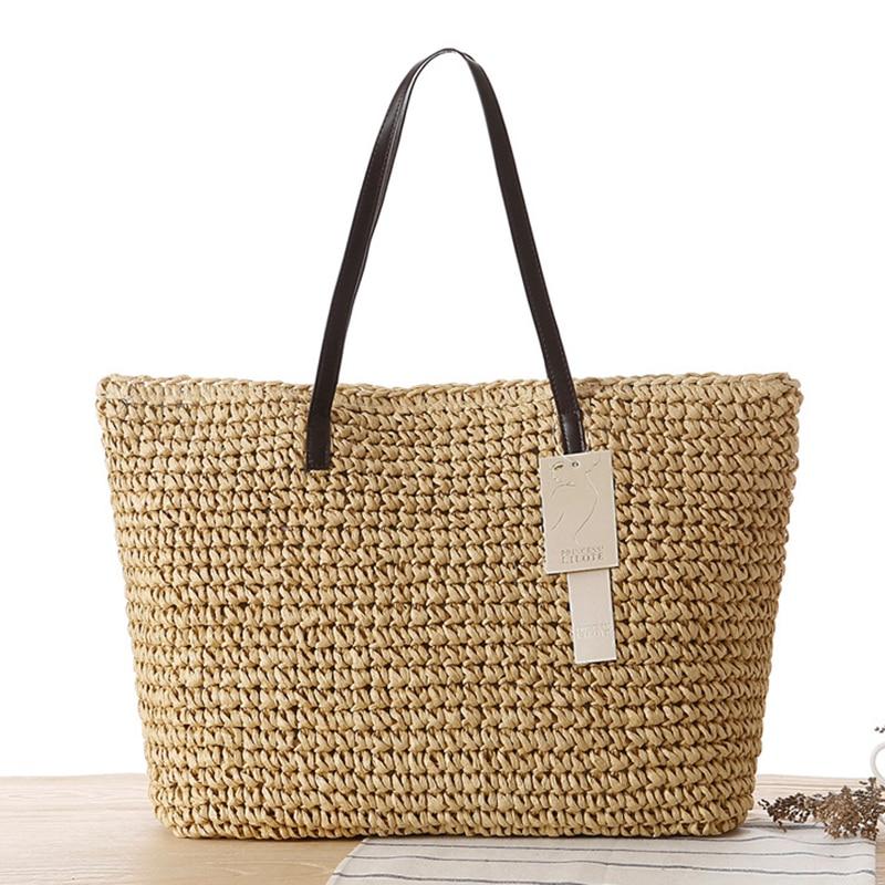 Womens Bags Solid Beach Bags Women Large Straw Handbags ...