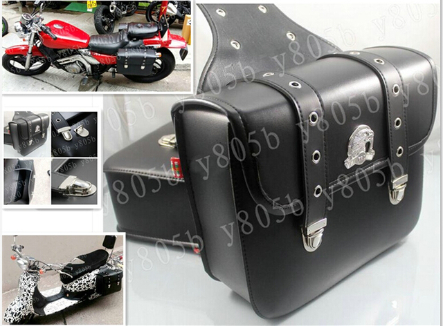 New Black Pu Leather Side Bag Saddle Bags For Motorcycle Street