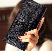 Luxury Brand High Quality PU Leather Women Purse Alligator Vintage Lady Coin Bag Female Hasp Long