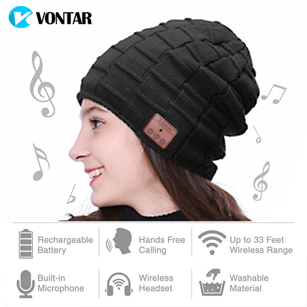 VONTAR MK3 Wireless Bluetooth headphones Music hat Smart Caps Headset earphone Warm Beanies Winter Downy Hat Mic for sports 35colors silver gold soild india scarf cap warmer ear caps yoga hedging headwrap men and women beanies multicolor fold hat 1pc