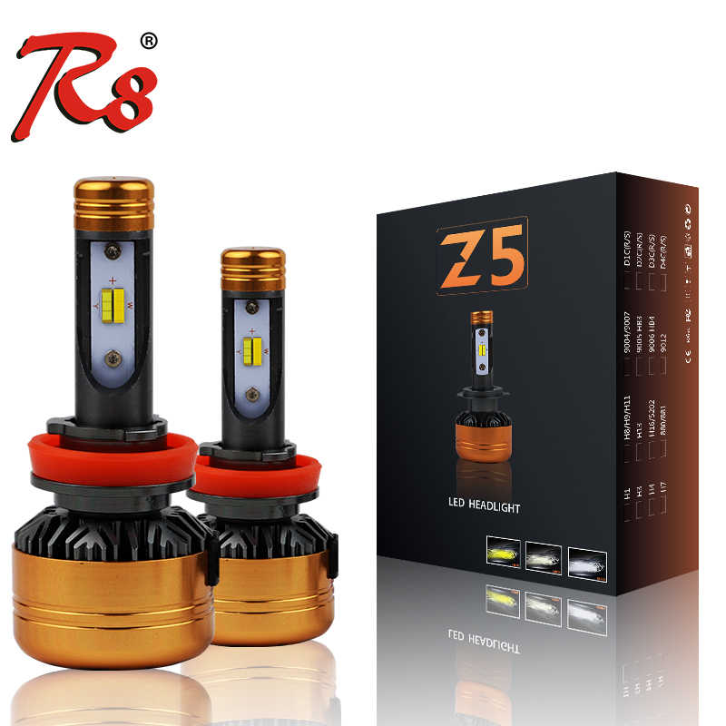 R8 Z5 Tricolor Three Colors Auto LED Headlight Bulb H1 H3 H7 H8 H11 880 H4 50W 5800LM 6500K 3000K 4300K White Yellow Dual Colors