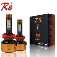 R8 Z5 Tricolor Three Colors Auto LED Headlight Bulb H1 H3 H7 H8 H11 880 H4 50W 5800LM 6500K 3000K 4300K White Yellow Dual Colors