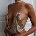 2017 mujeres Calientes de la moda Sexy discoteca crop top correa de sujeción lentejuelas de metal lo shi profunda V chaleco tops mujeres vendaje #3659