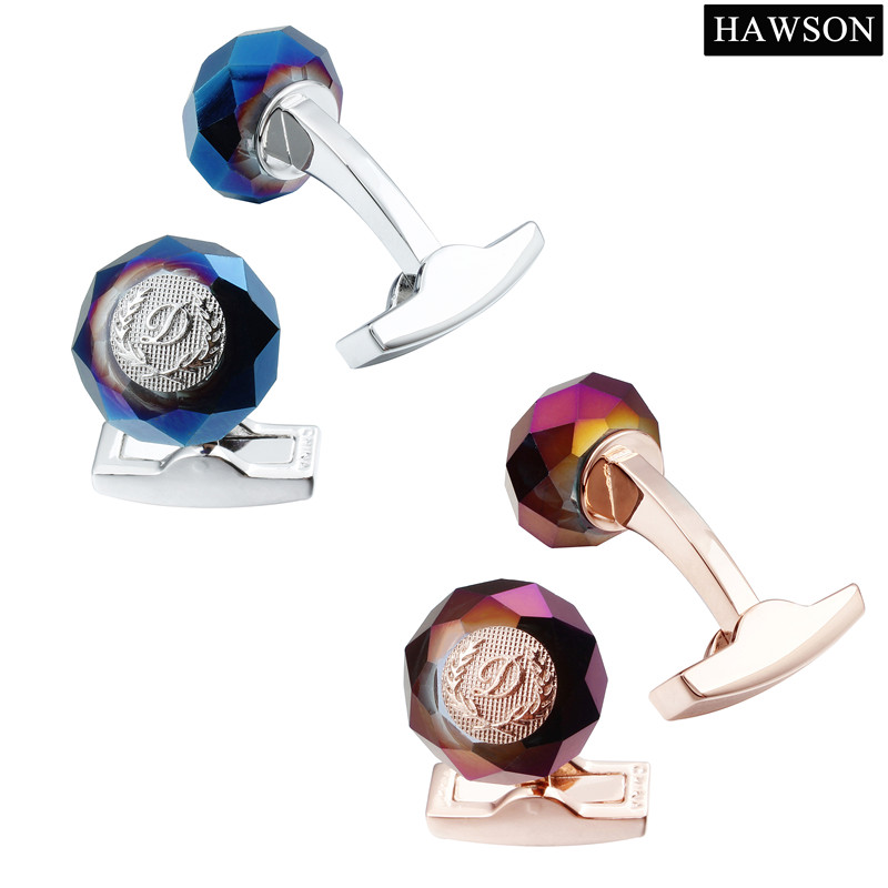 HAWSON Classic Round Cuff Stone pautan Tentera Laut Cuff Buttons - Perhiasan fesyen - Foto 5