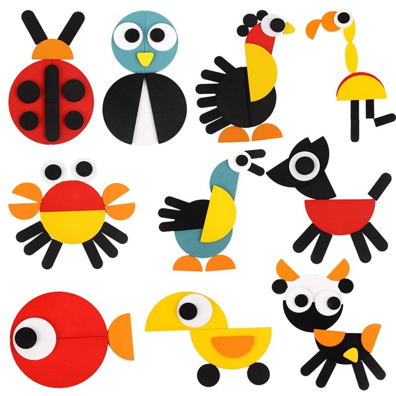 Montessori Di Puzzle Del Bambino Giocattoli Per I Bambini Set Per Bambini di Apprendimento Precoce di Puzzle Tangram Oyuncak Juegos Brinquedos Juguetes Brinquedo