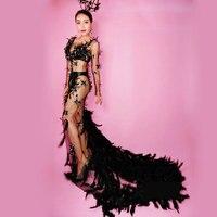 Перспектива сетка черное перо сексуальное Глубокий v образный вырез длинное платье женское день рождения боди сценическое женское певица т
