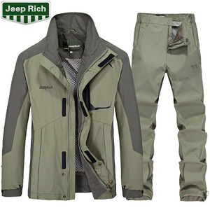 Image 2 - Combinaison veste + pantalon de Ski de plein air pour homme, tenue de Sport très chaude, coupe vent, imperméable à leau, pour faire du Camping, ensemble thermique épais