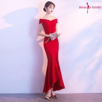 Beauty Emily Off The Shoulder Elegant Evening Dresses Sleeveless Mermaid Party Dress robe de soiree vestidos de fiesta de noche
