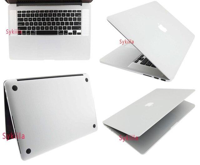 Для Macbook Кожи 12 13 15 Retina Air 11 13 Pro 13 15 Углеродного Волокна 3D Всего Тела Черный Серебристый водонепроницаемый Чехол Защитный стикер