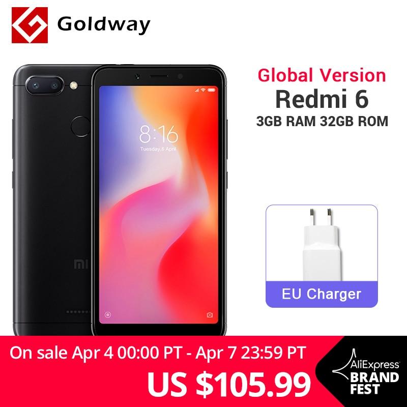 Global Version Xiaomi Redmi 6 3GB RAM 32GB ROM Mobile Phone Helio P22 Octa Core 12MP+5MP Dual Camera 5.45″ 18:9 Full Screen