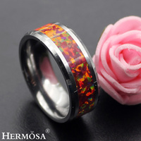 Super Gift Wedding Jewelry Party Hot Red Fire Australian Opal Tungsten Rings Men's Ring Womens Ring Size 7# 8#