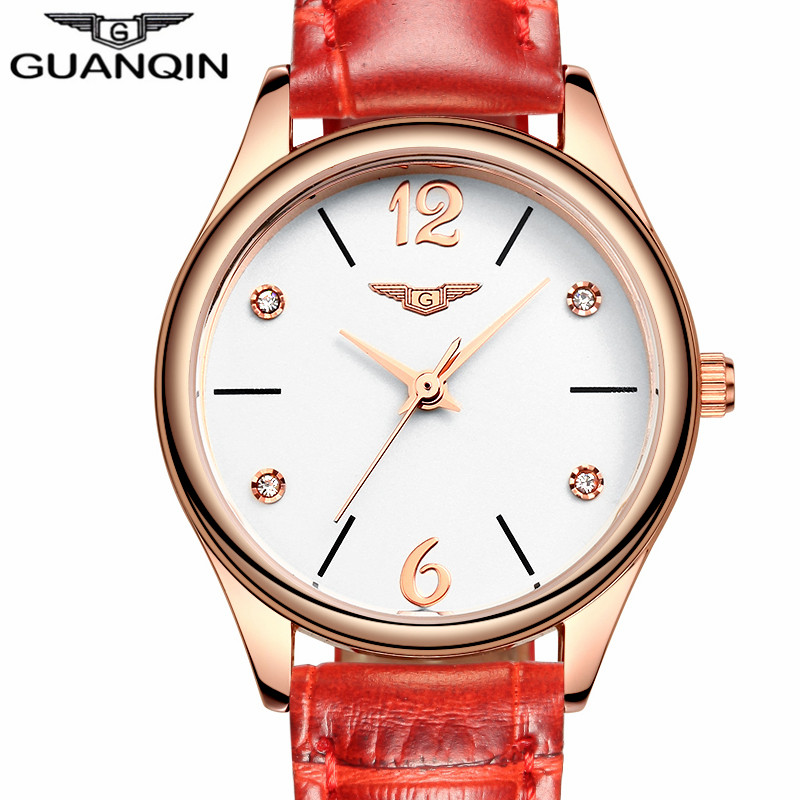 relogio feminino GUANQIN Fashion Watches Women Luxury Brand Rose Gold Quartz Watch Ladies Casual Red Leather Strap Wrist Watch duoya fashion luxury women gold watches casual bracelet wristwatch fabric rhinestone strap quartz ladies wrist watch clock