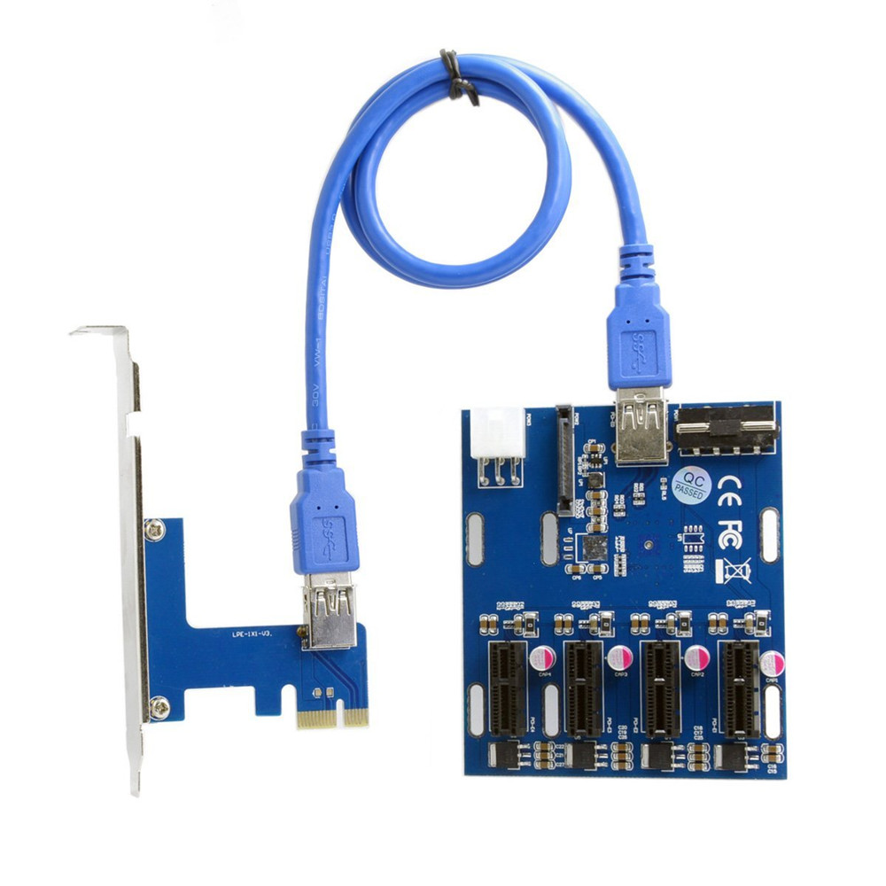 PCI-E Expansion Kit 1 to 4 Ports Switch Multiplier Hub Riser Card PCI-E 1X Express with USB 3.0 Cable & SATA Power Cable hot sale pci e express 1x to 3 port 1x switch multiplier hub riser card usb cable 1 pc drop shipping gifts wholesale