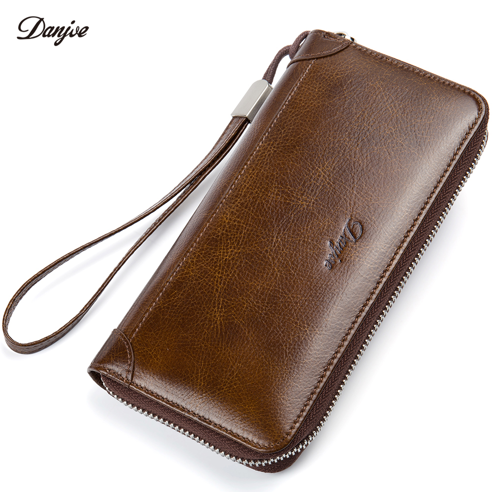 DANJUE Men Wallet Genuine Leather Male Purse Long Phone Bag Natural Cowhide Clutch Bag Trendy Fashion Card Holder Man Hand Bag vintage genuine sheepskin leather male men s long wallet purse phone wallets card holder zipper pocket clutch bag bags for men