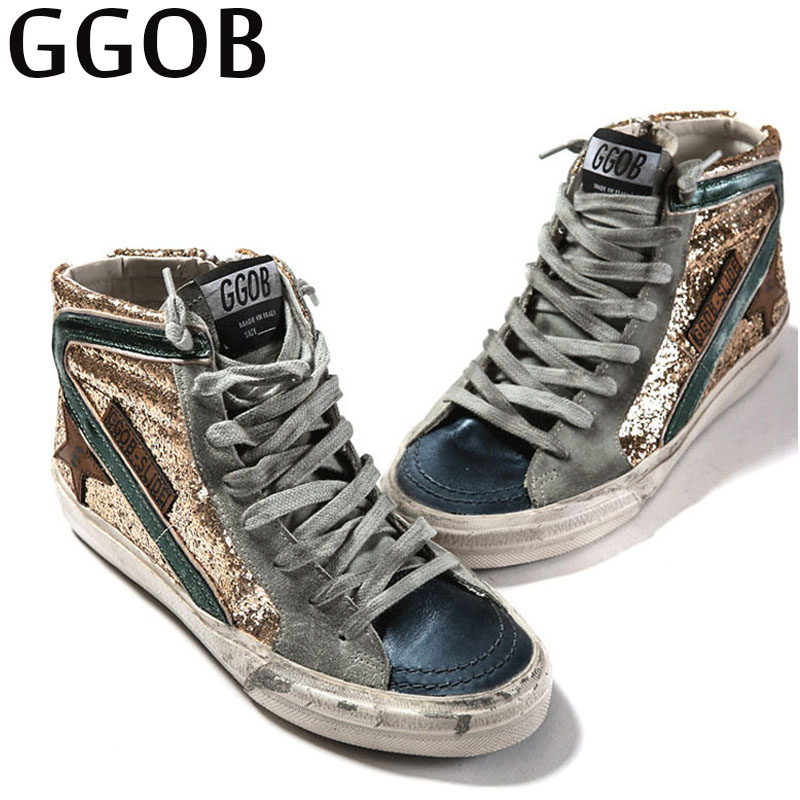 GGOB Womens Flats Ladies Casual Shoes Classics Woman Brand Outdoor Walking Sequins Fashion Plus Size Genuine Leather Flat With кэтрин ласки восход звезды