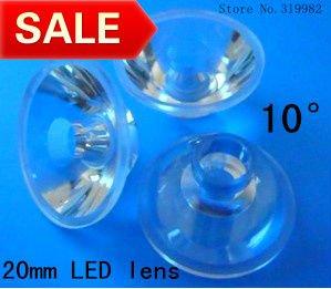 50pcs/lot, Led lens 20mm 10 degree, high quality led lens, high power LED 1W 3W PMMA lens, flat transparent lens, free shipping