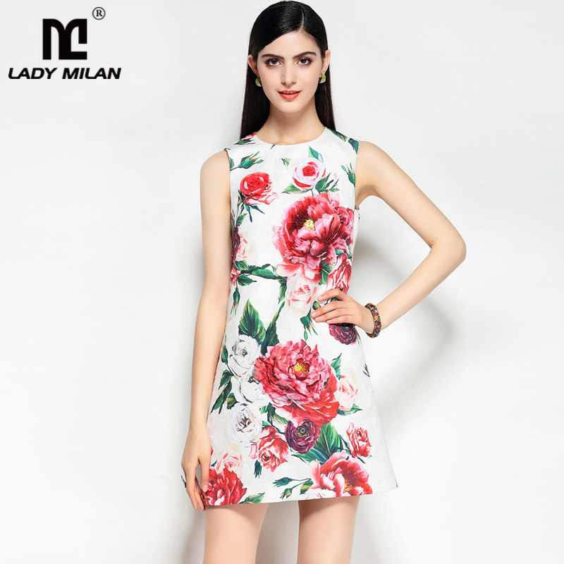 New Arrival 2018 Womens O Neck Sleeveless Appliques Beaded Floral Jacquard A Line Designer Casual Short Dresses