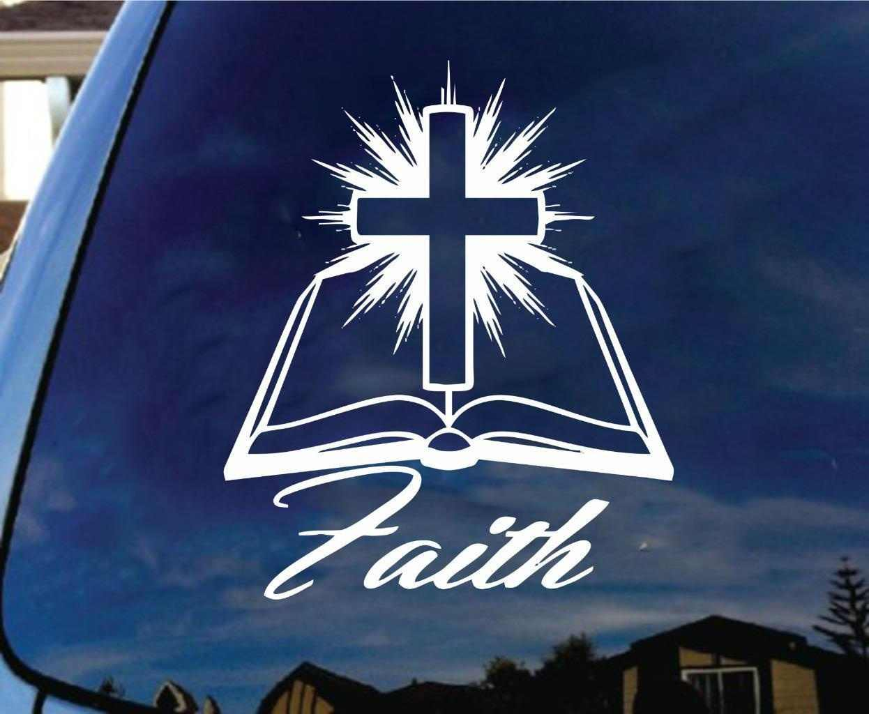 Faith Bible CrossไวนิลDecalสติกเกอร์คริสเตียนศาสนาJesus Christ Catholic 15 ซม.