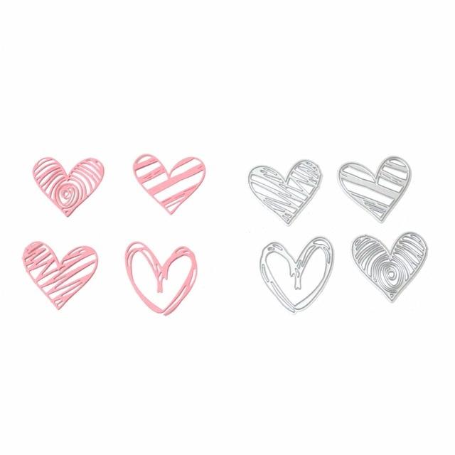 Hemere 4Pcs/set Heart Shape Frame Metal Cutting Dies Stencils for DIY Scrapbooking/photo album Decorative Embossing Paper Cards