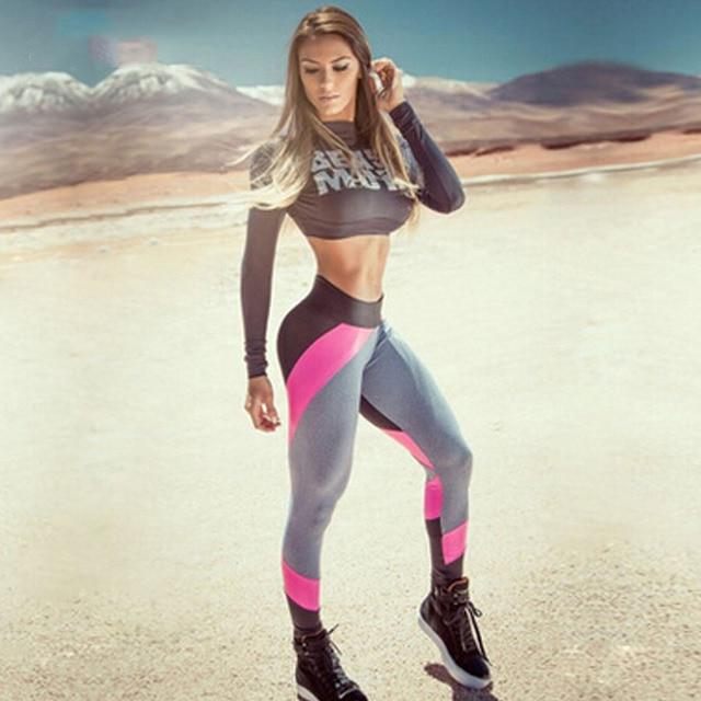 JLZLSHONGLE Contrasting Colors Patchwork Leggings Fitness Women Legging Push Up Force Exercise SUPERHOT Print Compression Pants