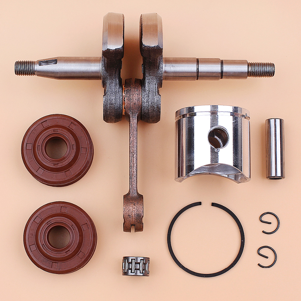Crankshaft Crank Shaft & 38mm Piston Bearing Oil Seal Set For HUSQVARNA 136 137 141 142 Chainsaw Parts