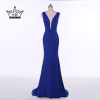 Sexy Backless Deep V Neck Mermaid Evening Dresses 2017 Simple Royal Blue Long Formal Dress Party