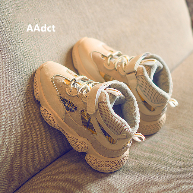 AAdct Cotton warm running shoes for boys New casual sports girls shoes 2018 Winter non-slip sneakers kids shoes