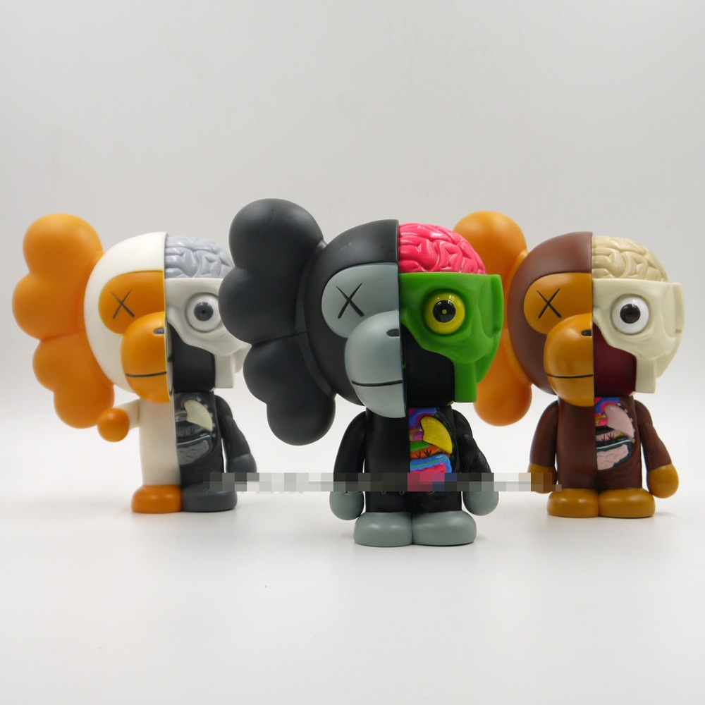 цены Hot Sale 8 inch Original Fake Kaws Bape Dissected Milo medicom toy with retail box