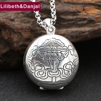 Men Necklace 100% Real 925 sterling silver Ethnic Lotus Goldfish Pendant Chain Necklace Gift Women fine jewelry 2017 N5