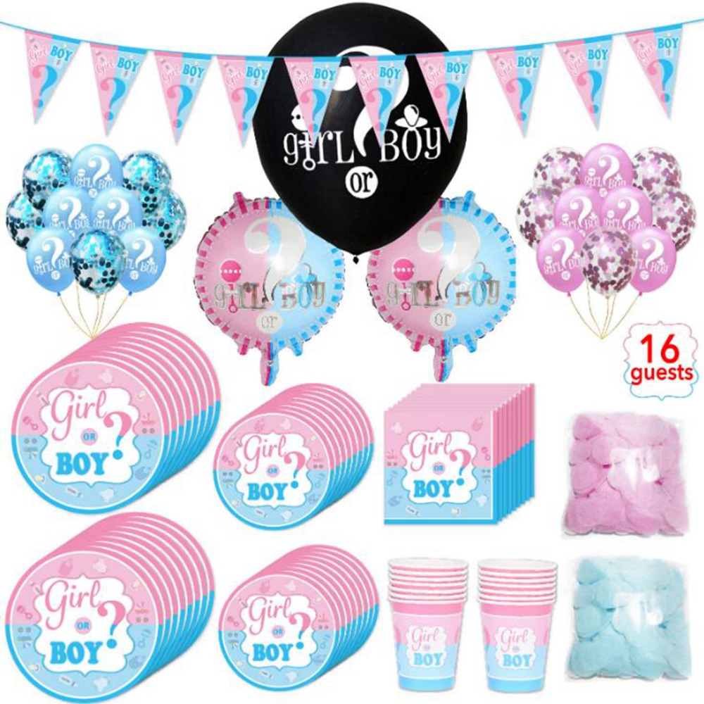 Baby Shower Boy Girl baby shower decorations Gender Reveal Disposable Tableware or Birthday Party Decorations Kids