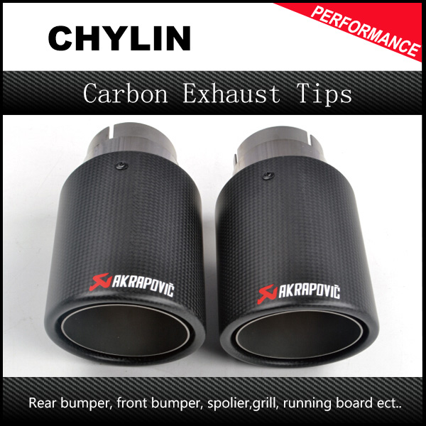 Car Cover Top Quality 1Pair Inlet 76mm Outlet 114mm Akrapovic Carbon Exhaust Muffler Tip End Pipes Carbon Universal Exhaust Tips