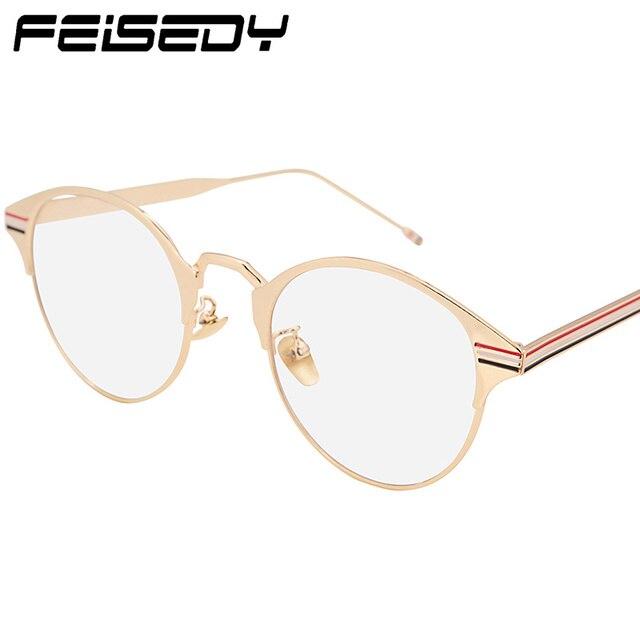 398180c7c7b FEISEDY Rétro Lunettes Rondes Femmes Hommes Vintage Objectif Clair Eyewears  Métal Optique Lunettes Unisexe