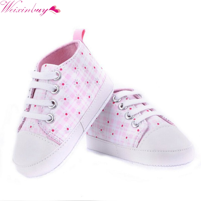 Infants Baby Boy Girl Shoes Casual Lace Prewalkers Sneaker Soft Sole Crib Shoes 0-18 M