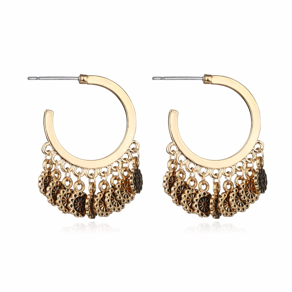 Brighton Antique Vintage Earrings Gold Silver Color Flower Round Tassel  Drop Earrings Women Charming Jewelry Pendientes
