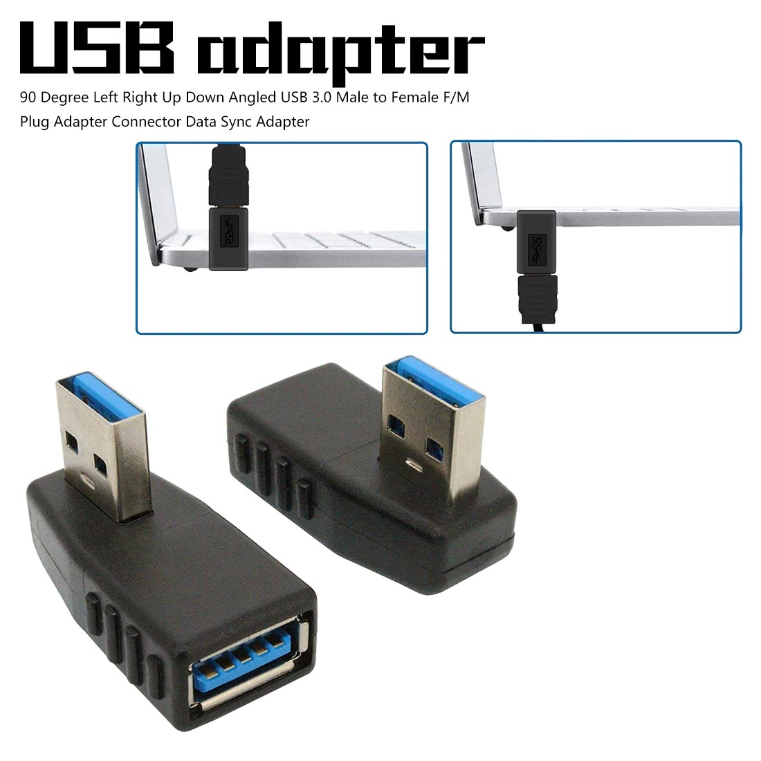 90 Degree Mini Usb Left Right Up Down Angled USB 3.0 Male To Female FM Plug Adapter Micro Usb Adapter