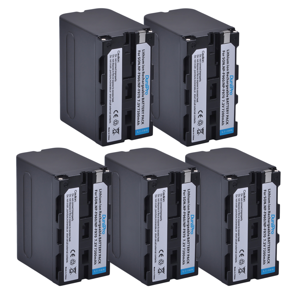 5 pz 7200 mah NP-F960 NP-F970 NP F960 F970 Batteria Ricaricabile per SONY F950 F330 F550 F570 F750 F770 MC1500C 190 p 198 p 1000C