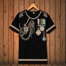 Европейский стиль, Винтажная Футболка с принтом медали, негабаритная, короткий рукав, лето, мягкая, дышащая, качественная футболка, мужская, S-6XL