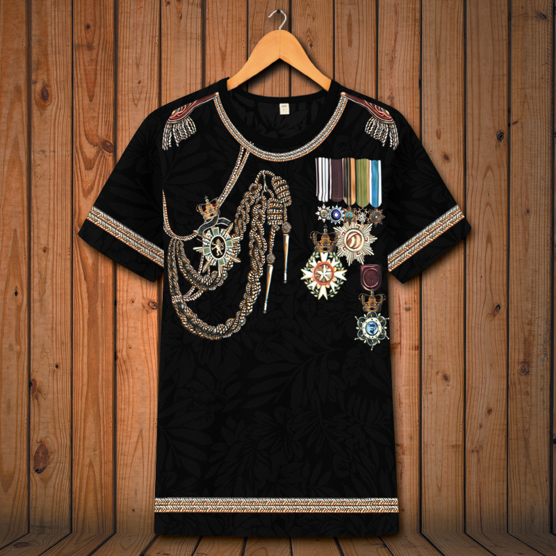 European Style Vintage Court Medal Printing Oversized Short Sleeve T Shirt Summer 2018 Soft Breathable Quality T Shirt Men S-6XL