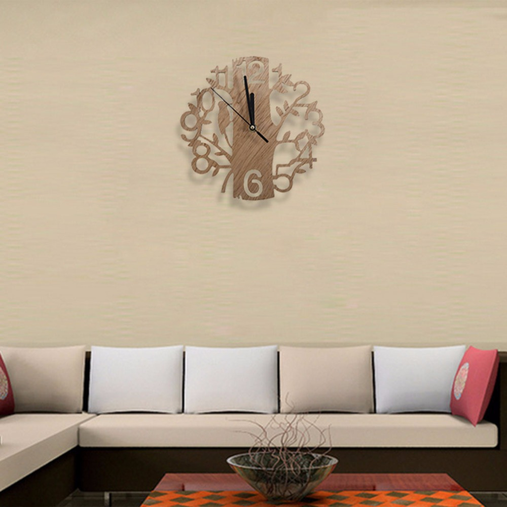 Modern Wood Vintage Design Wall Clock Fashion Style Home Living Room Coffee Shop Chic Bar Personality Quiet Clock Square Shape