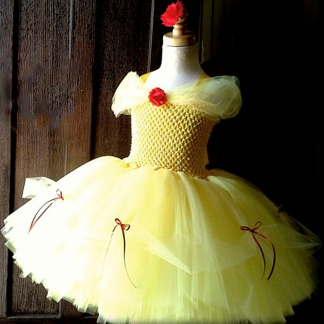 afbff7e8741 Girls Yellow Princess Tutu Dress Kids Fluffy Crochet Tulle Tutu Ball Gown  with Red Flower Children Party Cosplay Costume Dresses