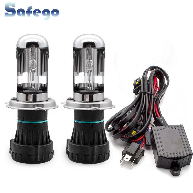 Safego bi xenon H4 bi xenon bulb 35w H4 3 HID BIXENON REPLACEMENT Headlight Hi/Lo Bulbs 4300K 6000K 8000K with Relay Harnes-in Car Headlight Bulbs(Xenon) from Automobiles & Motorcycles