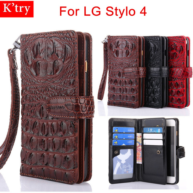 low priced 0f7b8 4238d US $10.0 36% OFF|For LG Stylo 4 case 3D Crocodile Snake Leather Flip Wallet  Cases For lg stylo4 Fundas With Wrist Strap Stand Wallet Capa-in Fitted ...