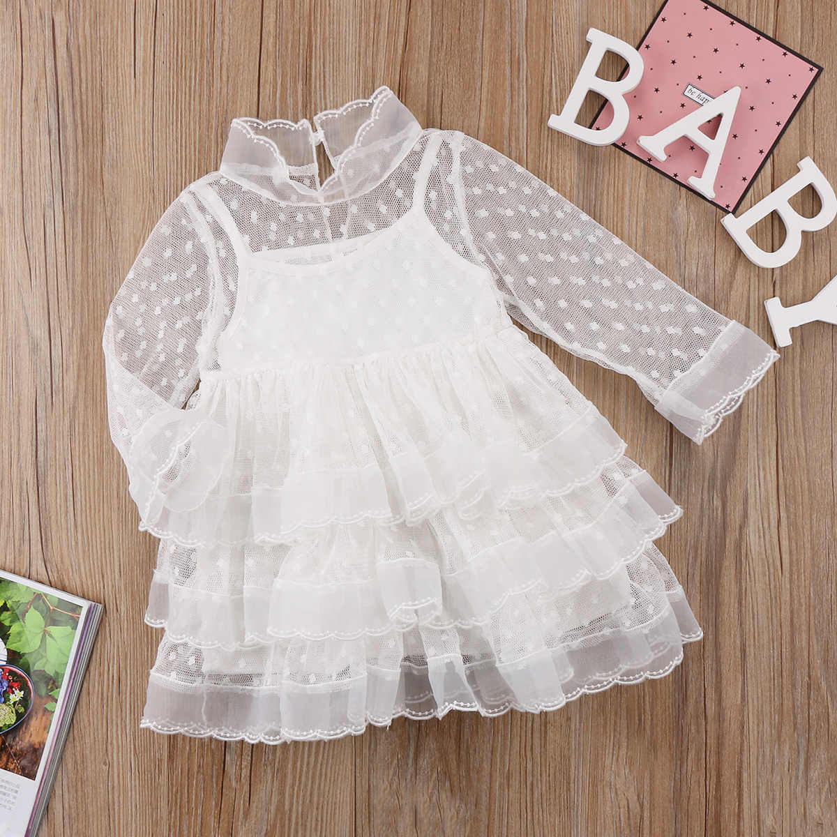 New Fashion Stock Dress Kids Baby Girls Party Princess Dot Tulle Lace Tutu  Dress Formal Clothes 3883c556c819