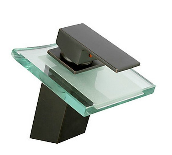 ФОТО Glass Waterfall Oil Rubbed Bronze  Bathroom Sink Faucet Single Handle Deck Mounted Mixer Tap