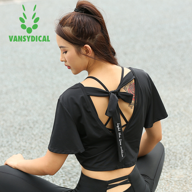 0bbfd0dcdc953 Vansydical Brand yoga tops clothes T-Shirts short sleeve sports bra women  quick dry breathable loose gym fitness running shirt