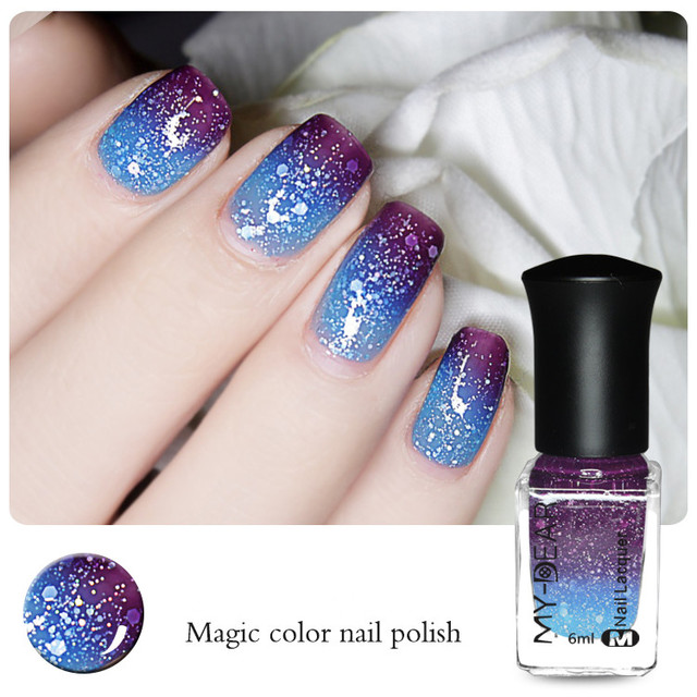 1 Bottle 6ml Color Changing Nail Polish Peel Off Thermal Nail ...