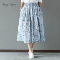 Shugo wynne 2017 d'été nouvelles femmes sweet imprimé floral taille élastique coton linge a-ligne jupe japonais mori fille jupes