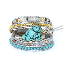 2019 new Unique Mixed Natural Stones turquoises Charm 5 Strands Wrap Bracelets Handmade Boho Bracelet Women Leather Bracelet(China)